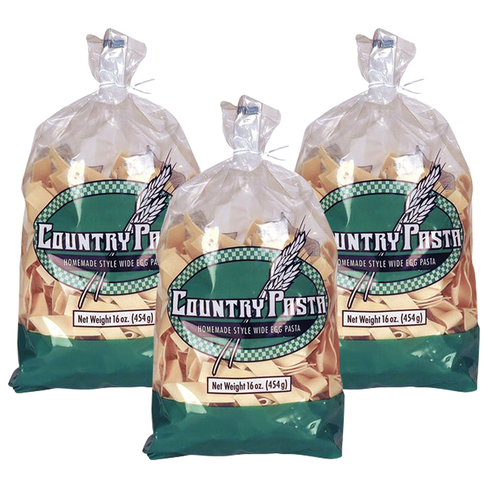 (3 Pack) Country Pasta Homemade Style Wide Egg Pasta, 16 Oz