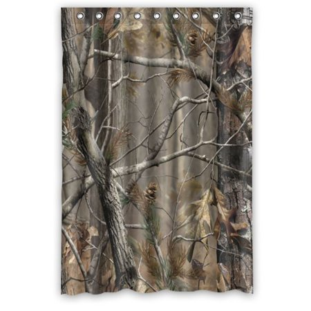 GreenDecor Camouflage Best Cool Camouflage Camo Tree Waterproof Shower Curtain Set with Hooks Bathroom Accessories Size 48x72