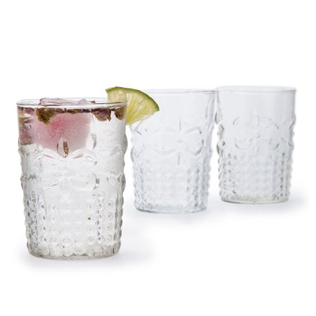 Fleur de Lys Tumbler Drinking Glass (Clear, Holds Approx 9oz) (Glow Drinking Glasses)