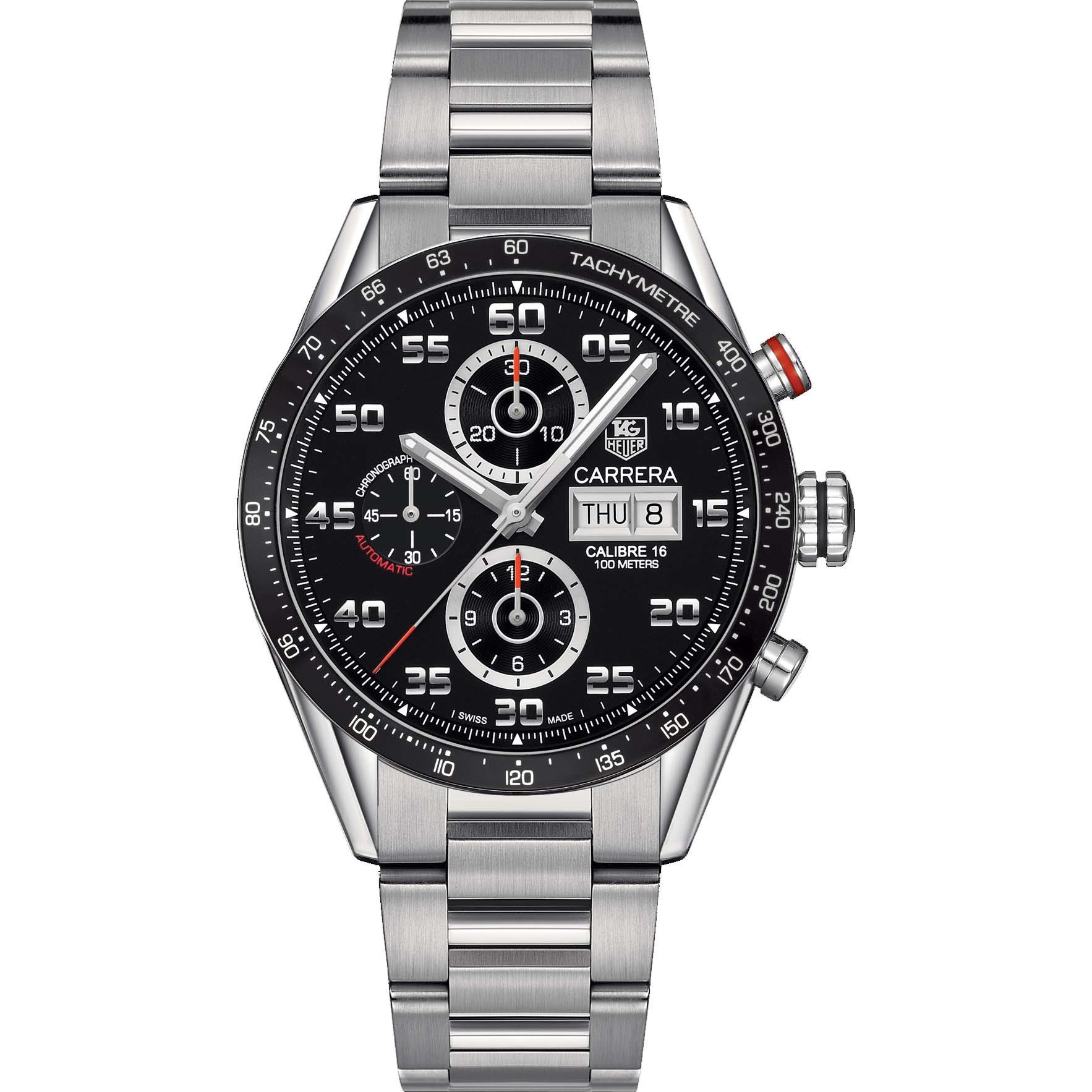 TAG Heuer Men's Carrera 43mm Steel Bracelet & Case Automatic Black Dial Analog Watch CV2A1R.BA0799 by Tag Heuer