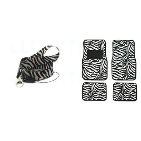 Animal Lanyards (A Set of 5 Piece Animal Print Front and Back Floor Mats and Lanyard Key Chain - Zebra White - Zebra)