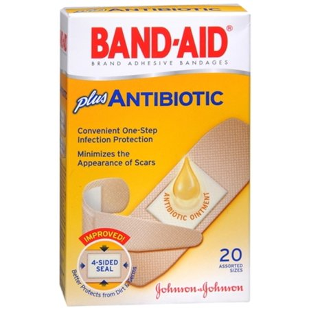 BAND-AID Plus Antibiotic Bandages Assorted Sizes 20 Each (Pack of 2)