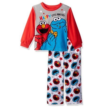 Sesame Street Elmo Cookie Monster Toddler Boys 2-Piece Fleece Pajamas 21SS278ELL (Elmo Suit For Sale)