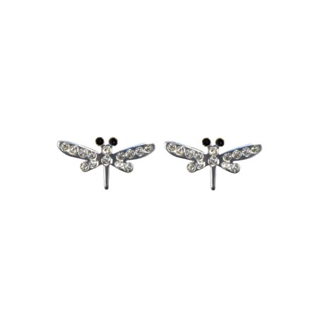 - Wedding Earrings Silver Crystal Dragonfly Stud Earrings