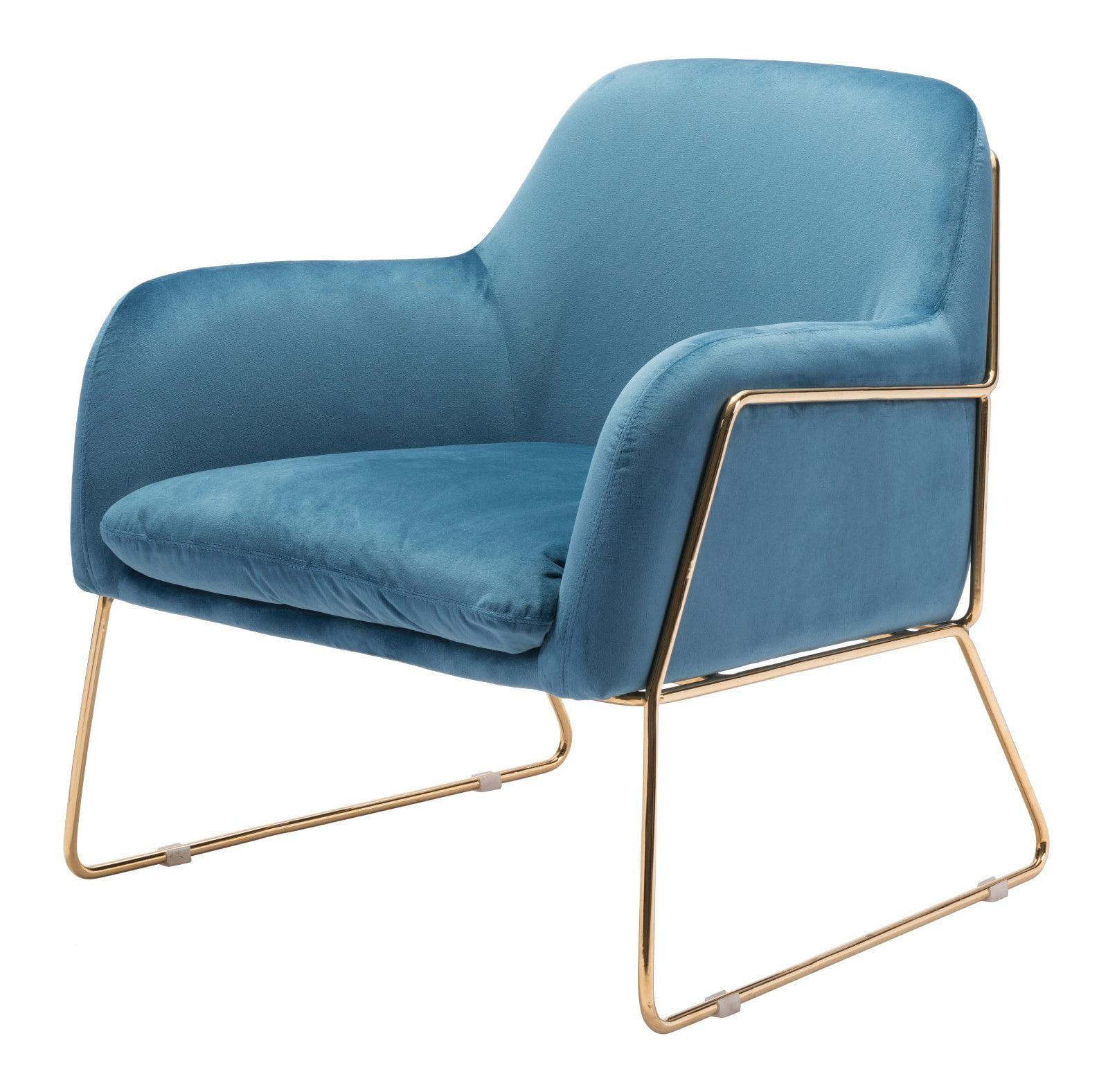 Modern contemporary armchair accent chair blue velvet fabric chromed steel walmart com