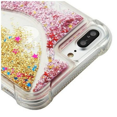 Apple iPhone 6s/6s Plus/7 Plus/8 Plus Case, by Insten Quicksand Glitter Hard Plastic/Soft TPU Rubber Transparent Case Cover For Apple iPhone 6s/6s Plus/7 Plus/8 Plus, Pink/Gold - image 1 de 3