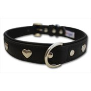 Leather 'Hearts' Dog Collar, Padded, Double-Ply, Riveted Settings, 22' x 1', Black, Leather (Rotterdam Hearts) Neck Size: 16.5' - 20'