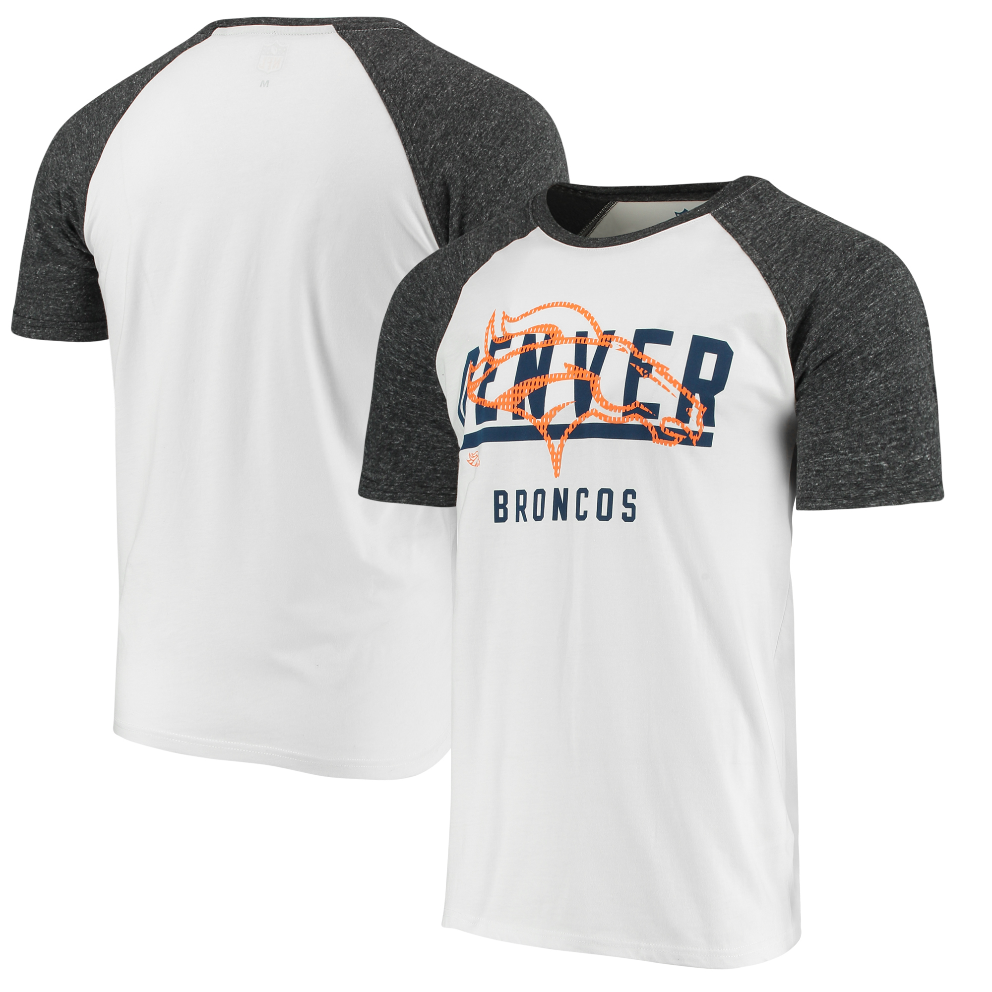 Denver Broncos G-III Sports by Carl Banks Heritage Raglan Tri-Blend T-Shirt - White/Heathered Gray