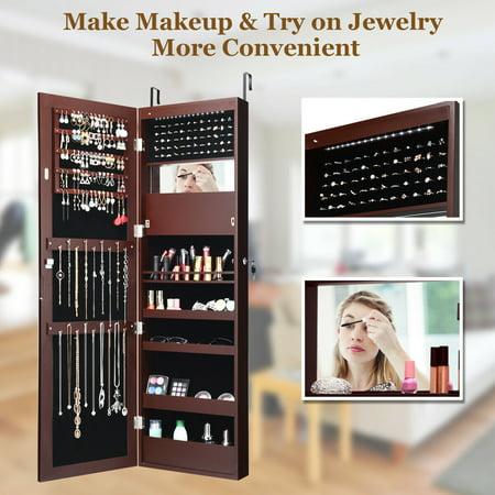 Costway Lockable Wall Door Mounted Mirror Jewelry Cabinet Armoire Organizer w/LED Lights - image 3 de 10