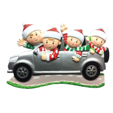 Family Series Car SUV Family of 4 Personalized Christmas Ornament