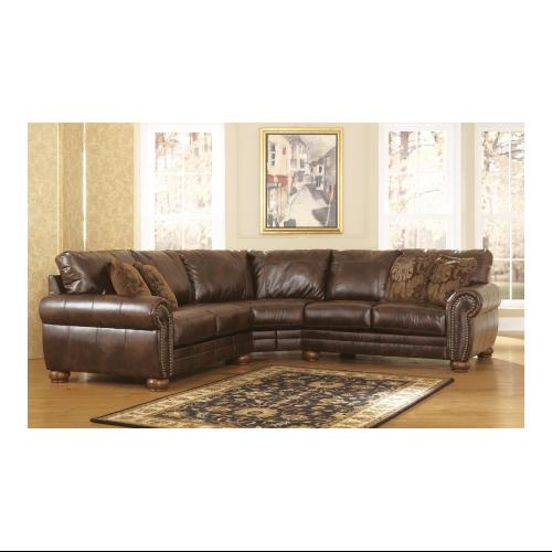 Signature Design by Ashley  21300-55-56 Walcot DuraBlend Sectional Sofa with Traditional Nail-Head Accents  Rich