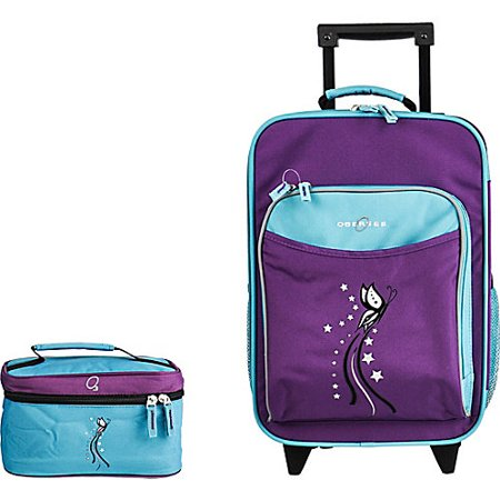 Obersee Kids Luggage and Toiletry Bag Set - Turquoise Butterfly