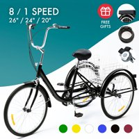 """24"""" Adult Tricycle w/ Basket Men?s Women?s Cruiser Bike for Shopping & Recreation With 8-speed Transmission Black"""