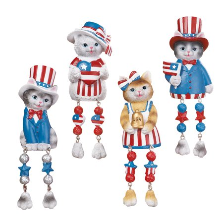 Stars & Stripes Patriotic Cat Shelf Sitters 4th of July Indoor Decoration for $<!---->