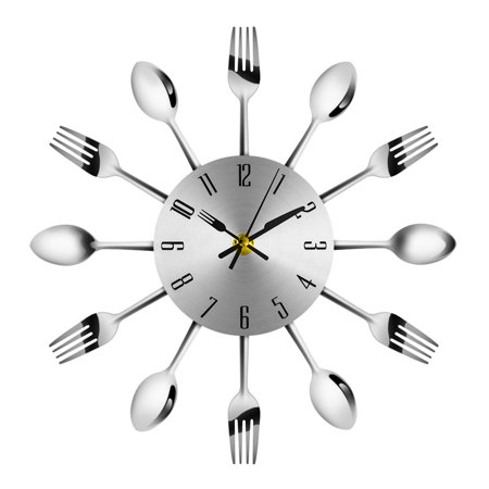 Modern Stainless Steel Knife Fork Wall Clock Analog for Home Office Stainless Steel Kitchen Clock