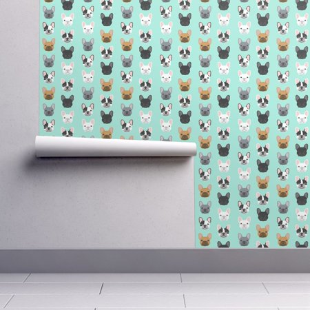 Removable Water-Activated Wallpaper French Bulldog Mint Bulldog Frenchie Pet (French Mint)