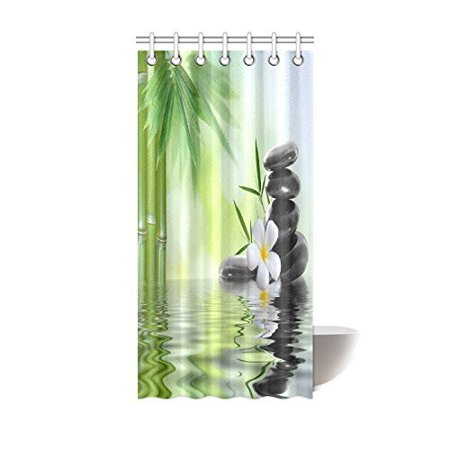 (MYPOP Spa Decor Collection, Garden with Frangipani Bamboo Zen Basalt Stones Japanese Relaxation Luxury Travel Design Bathroom Shower Curtain 36 X 72 Inches, Green White Yellow)