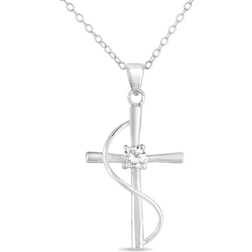 """Sterling Silver Cross Pendant with CZ Accent, 18"""""""