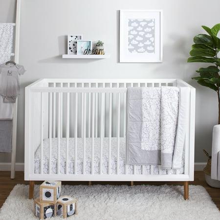 Little Star Organic Pure Organic Cotton Crib Bedding Set, 3 Pc, Gray-Little Dreamer