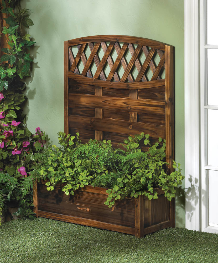 Garden Planters Large, Wooden Planter Box, Decorative Tall Trellis ...