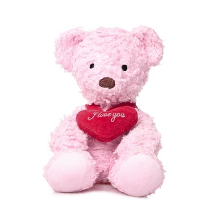 Bears for Humanity Sherpa Bears Organic Cotton Plush with I Love You Heart, Pink