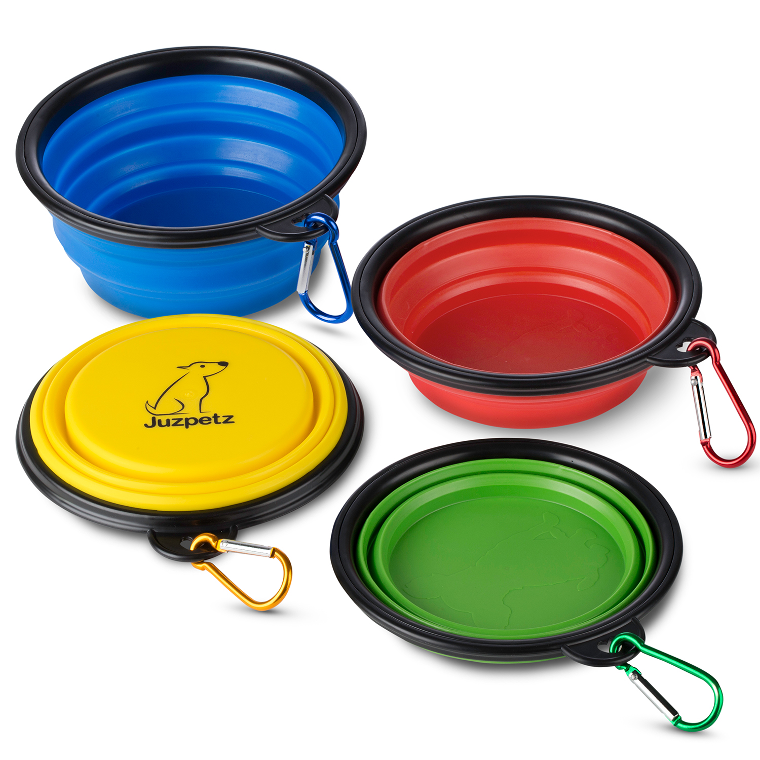 JuzPetz Collapsible Pet Bowl 4 Pack, Silicone Travel Bowl for Dog Cat, Foldable & Expandable - Red/Blue/Yellow/Green