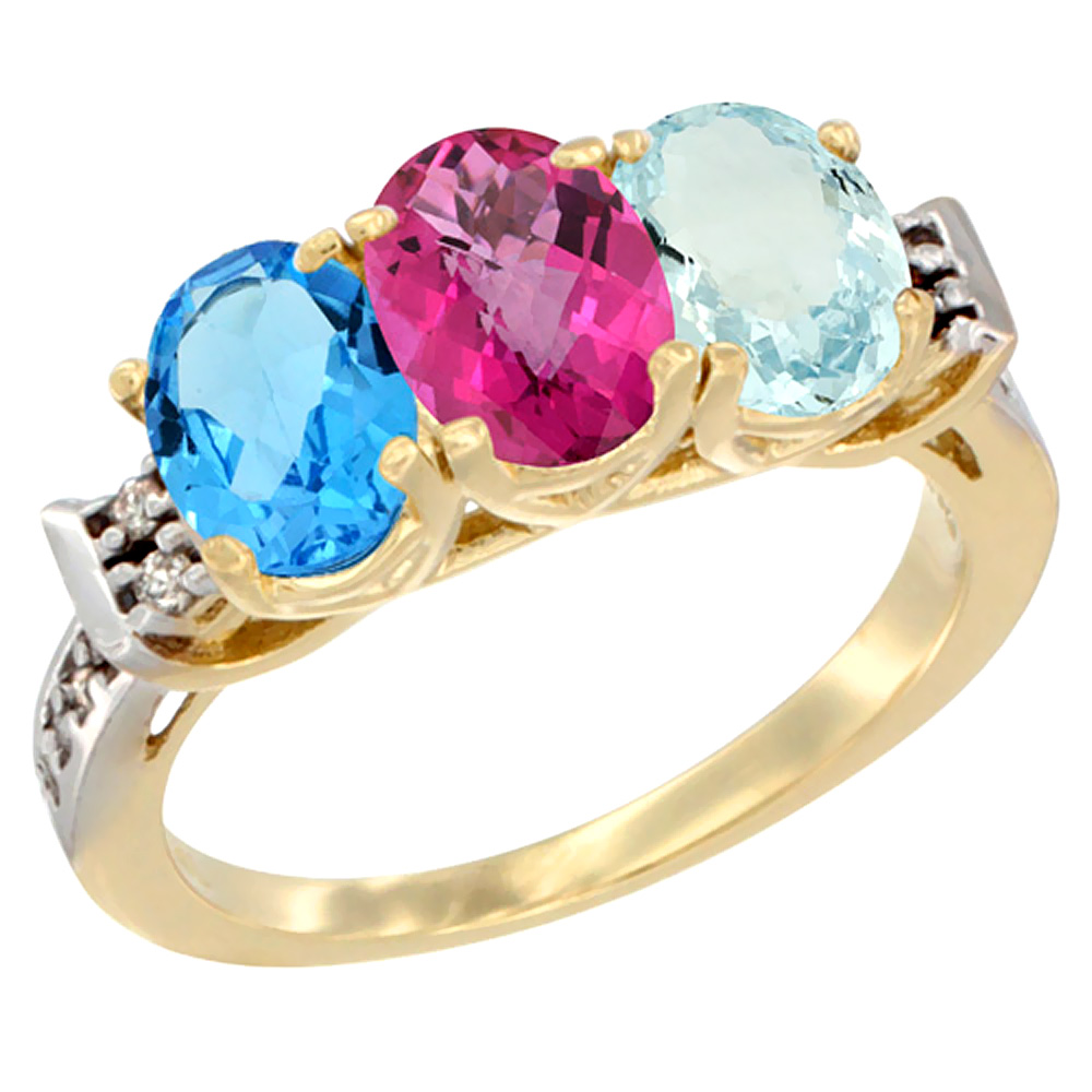 14K Yellow Gold Natural Swiss Blue Topaz, Pink Topaz & Aquamarine Ring 3-Stone 7x5 mm Oval Diamond Accent, sizes 5 10 by WorldJewels