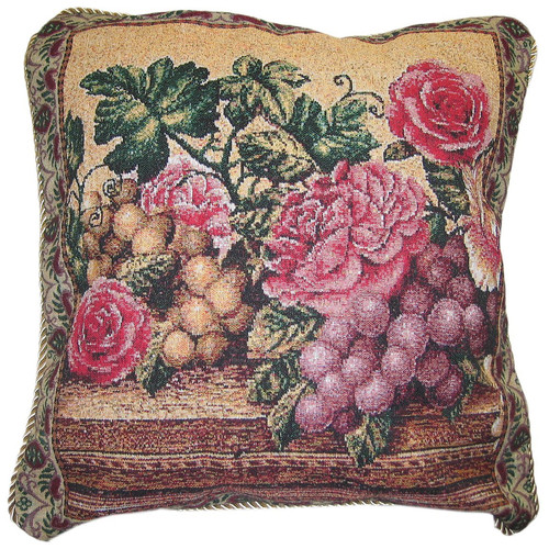 DaDa Bedding Parade of Fruit and Rose Woven Pillow Cover