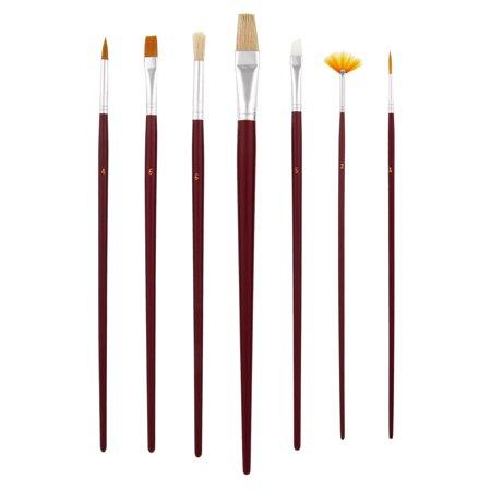 US Art Supply 12pc Long Handle Nylon Hair, Bristle Art Paint Brush Variety Set (Nylon Paint Brush)