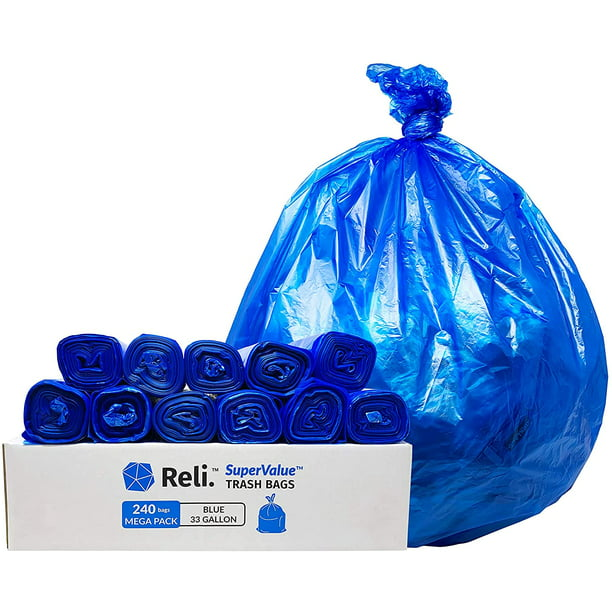 Reli. 33 Gallon Recycling Bags (240 Bags) Blue Recycling Trash Bags 30 Gallon - 33 Gallon Garbage Bags, Blue Recycle Bags 30-35 Gal