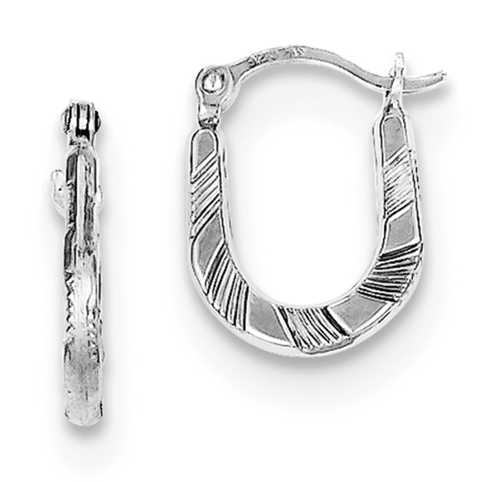 925 Sterling Silver Diamond Cut Scalloped Hinged Post Hoop Earrings 1.8mm x 13mm