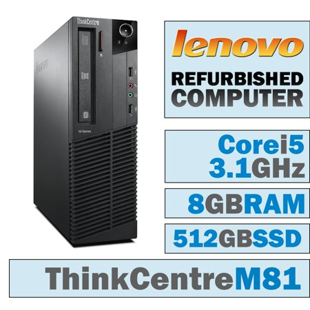 REFURBISHED Lenovo ThinkCentre M81 SFF/Core i5-2400 Quad @ 3.1 GHz/8GB DDR3/NEW 512GB SSD/DVD-RW/WINDOWS 10 PRO 64 BIT