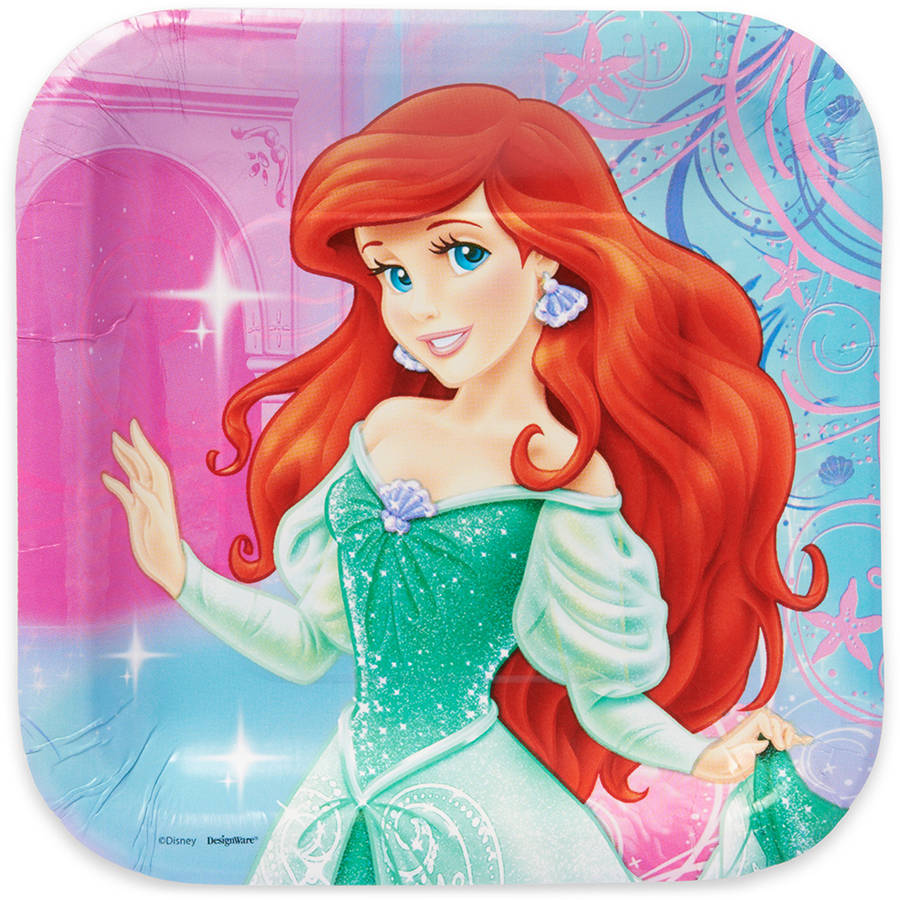 """The Little Mermaid 7"""" Square Plate, 8 Count, Party Supplies"""