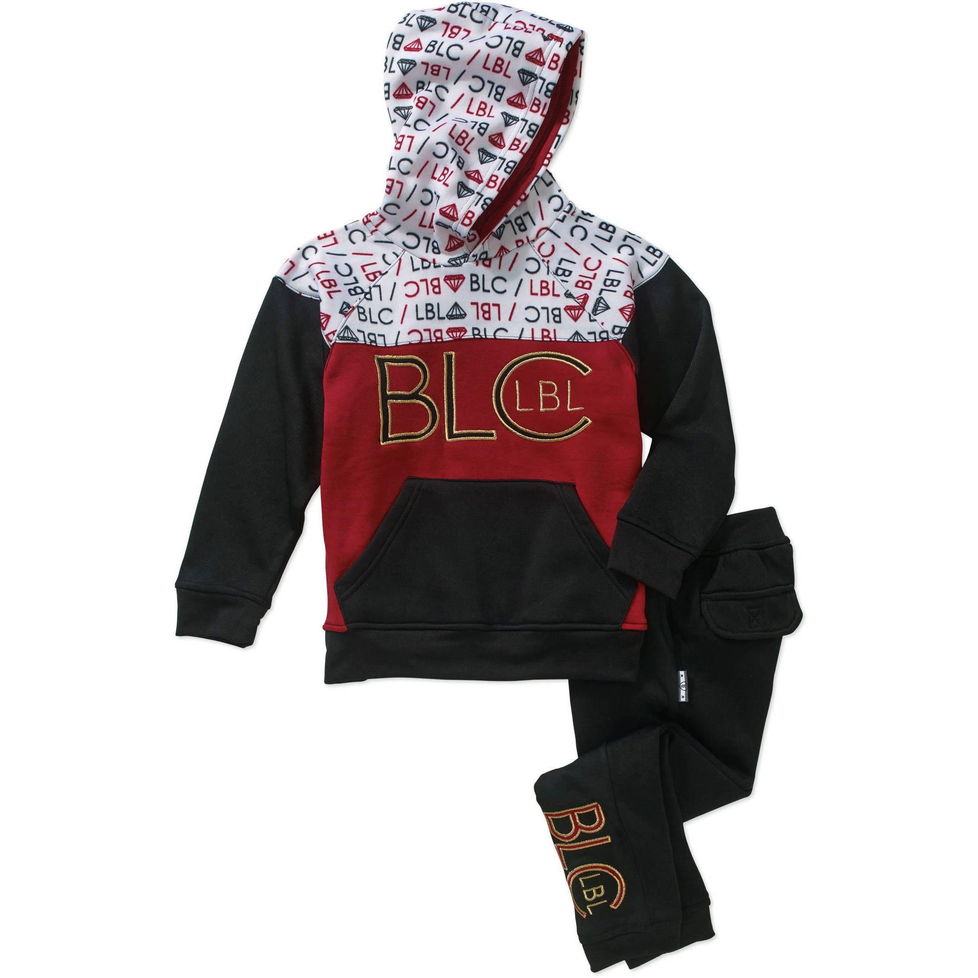 Blac Label Boys Color Blocked Printed Fleece 2PC Jogger Set