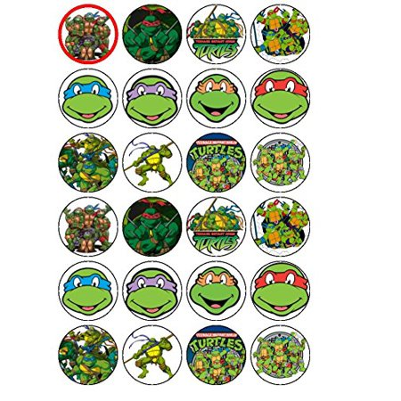 24 Teenage Mutant Ninja Turtles Edible Wafer Paper Cup Cake Toppers by CakeThat (Ninja Turtle Cake Kit)