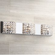 "Vienna Full Spectrum Modern Wall Light Chrome Hardwired 25 1/2"" Wide 3-Light Fixture Clear Crystal for Bathroom Vanity Mirror"