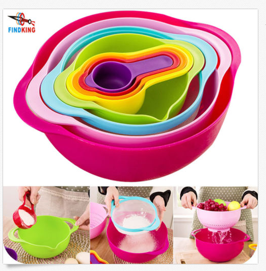 10Pcs/Set Mixing Bowls Plastic Measuring Cups Spoon Kitchen Wash Baking Tool