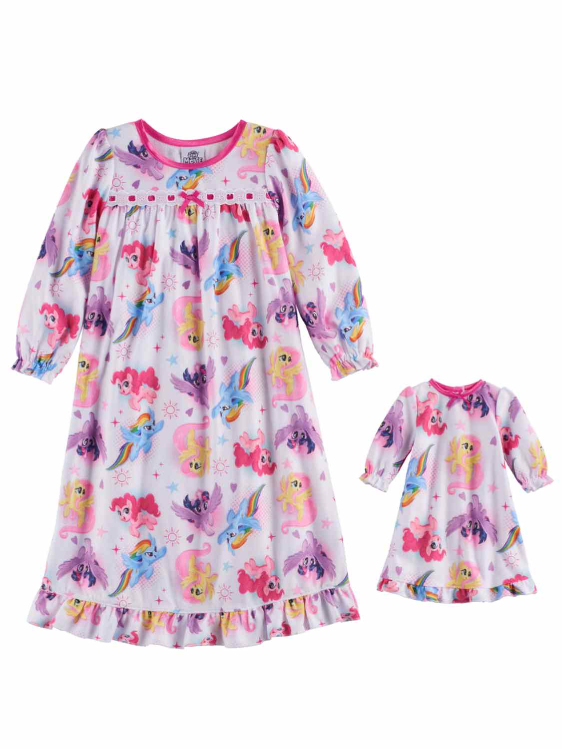 Toddler Girls White Flannel My Little Pony Nightgown & Doll Night Gown Set 2T