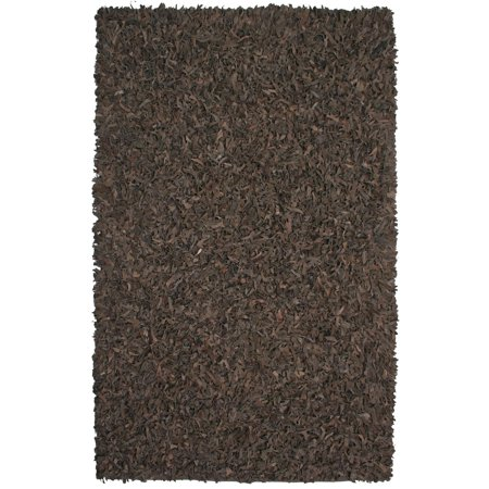 Brown Leather Rug - St. Croix Trading Hand-tied Brown Leather Rug (8' x 10') - 8' x 10'