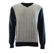 Geoffrey Beene NEW Black Mens Size Medium M V-Neck Herringbone Sweater $75 #358