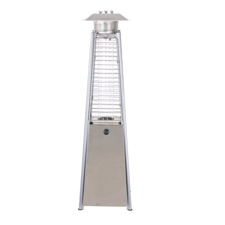 Baner Garden PH05-SSA Outdoor Propane Patio Table Top Pyramid Flame Heater with Cover-Commercial Tall Hammered Stainless Steel Finish Garden Standing LP Gas Porch and Deck ()