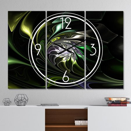DESIGN ART Designart 'Multi Colored Green Stained Glass' Modern 3 Panels Oversized Wall CLock - 36 in. wide x 28 in. high - 3 panels (Multi Colored Stained Glass)