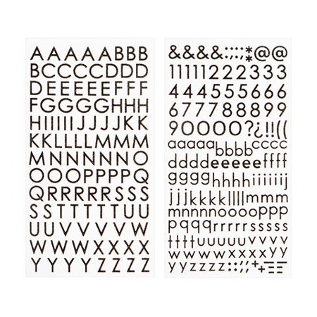Spell out everything with these black glitter letter stickers. They have an adhesive backing for easy -