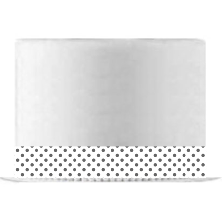 White and Grey Polka Dot Edible Cake Decoration Ribbon -6 Slim Strips - Polka Dot Cake