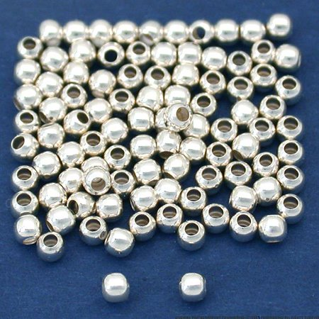 2mm Round Seamless Sterling Silver Beads (Qty=100) 2mm Seamless Round Beads