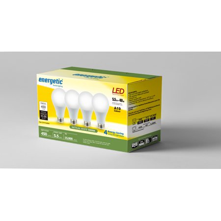 Energetic LED A19 Light Bulbs, 5.5 Watts (40W Equivalent), E26 Base, 450 Lumens, 5000K, Non-dimmable (4-pack)