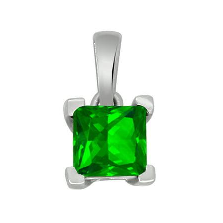 10K White Gold Princess Shape Sim. Emerald Solitaire Pendant for Women (0.82 Cttw) - Ladies Emerald Shape
