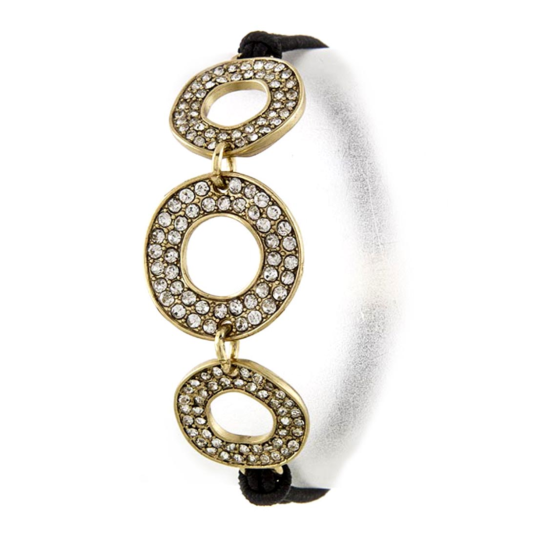 Black Crystal Tripple Circle Charm Dual Function Stretch Hair Tie