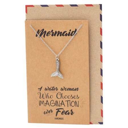 Quan Jewelry Mermaid Tail Pendant Necklace, Gifts for Mermaid Lovers, Best Gift for Women and Ocean Lovers with Inspirational Greeting Card