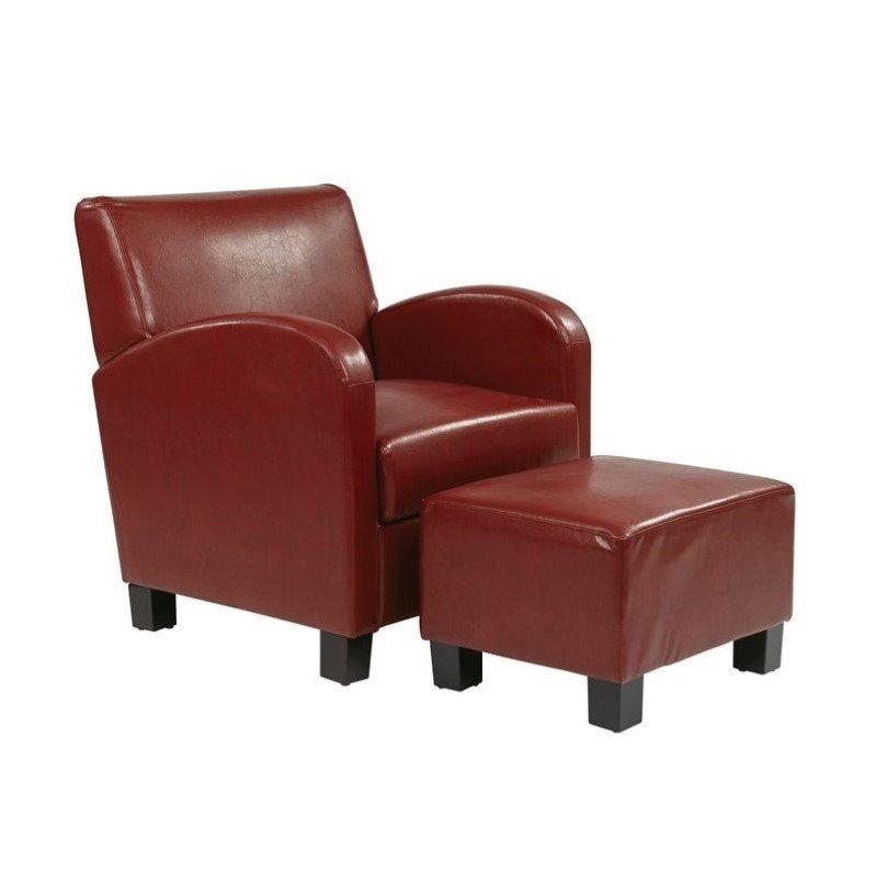 Office Star Metro Faux Leather Chair and Ottoman in Crimson Red
